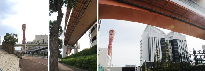 左・中:昔は海だった広場と橋桁。右:屋根の形が特徴的な結婚式場。2017年改訂版(上)にはその姿が描き写されている。
