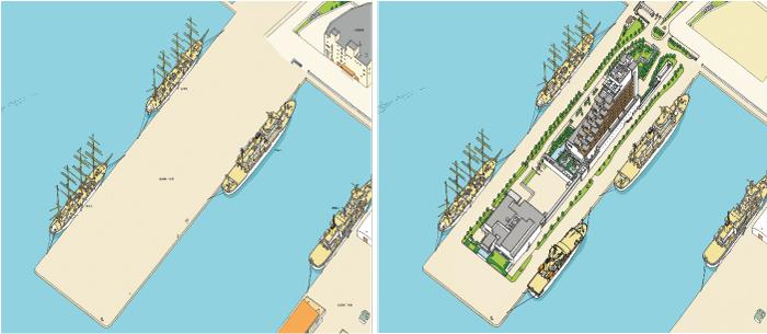 2008年(左)は突堤に並んでいた倉庫は撤去された後で、2017年(右)には2015年に完成したホテルと温泉施設が描かれている。