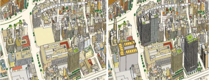 2008年(左)中央の空き地に、2017年(右)には高層のマンションがいくつも建つ。