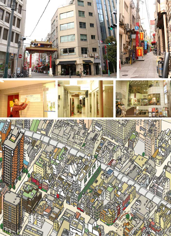 うなぎの寝床のような区画に建つ「ジェムビル」(鳥瞰図画面中央)。元町1番街から神戸南京町へ通り抜けることのできる唯一のビル。(みなと神戸バーズアイマップ2017)