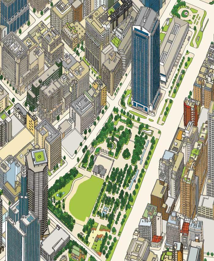 市役所周辺(みなと神戸バーズアイマップ2017)